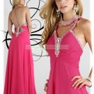 2012 Hot Sale Halter Pink Red Chiffon Ruffled Beaded Empire Evening Dress Party Dress E2