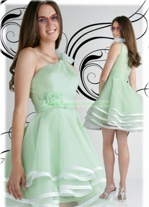 2012 Hot Sale One Shoulder Green Organza Ruffled Flower Cocktail Dress Evening Dress Party Dress E3