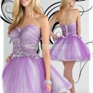 2012 Hot Sale Strapless Purple Organza Ruffled Beaded Cocktail Dress Homecoming Dress E4