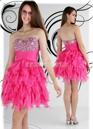 2012 Hot Sale Strapless Red Organza Ruffled Beaded Cocktail Dress Homecoming Dress E5