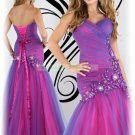 2012 Hot Sale Strapless Purple Organza Applique Beaded Evening Dress Party Dress E7