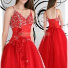 2012 Hot Sale Double Spaghetti Red Organza Applique Beaded Evening Dress Party Dress E8