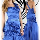 2012 Hot Sale One Shoulder Blue Stretch Satin Hand Flowers Evening Dress Party Dress E9