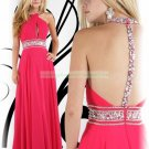 2012 Hot Sale Halter Pink Red Chiffon Ruffled Beaded Evening Dress Party Dress E11