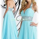 2012 Hot Sale Halter Blue Chiffon Ruffled Beaded Evening Dress Party Dress E15