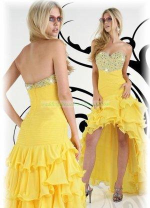 Free Shipping 2012 Hot Sale Strapless Yellow Chiffon Ruffled Beaded Evening Dress Party Dress E16