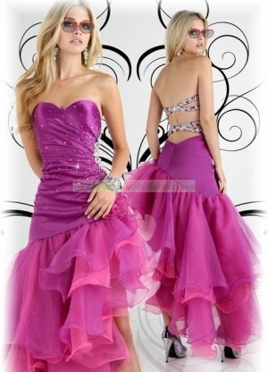 2012 Hot Sale Strapless Purple Stretch Satin Organza Ruffled Beaded Evening Dress Party Dress P1
