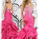 2012 Hot Sale Strapless Red Taffeta Ruffled Beaded Evening Dress Party Dress P2