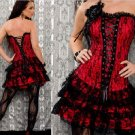 Lace Sexy Lingerie Floral Brocade Overbust Corset Sweetheart with Lace Up Back  Bodysuits S15