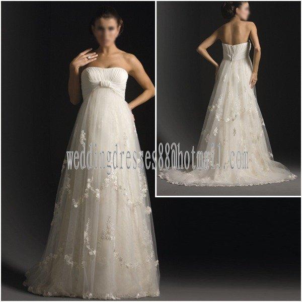 White tulle voile maternity wedding dress strapless empire for Empire waist tulle wedding dress