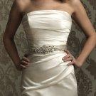 B016 Rhinestone & Crystal Stones Bridal Waistband White Ivory Bead Accented Bridal Belt Sash