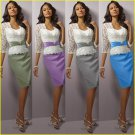 Discount Mid-Sleeves Lace Purple Blue Silver Green Satin Knee-length the Mother of  Bridal Dress