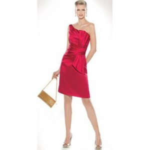 One Shouler Red Satin Short Bridal Evening Dress Knee Length Bridesmaid Dress 5 Pcs Free Scarf