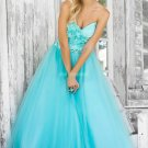 Free Shipping Strapless Blue Red Pink Organza Beaded Flowers Prom Dress Party Dress