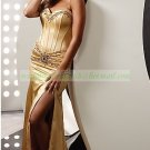 2012 Hot Sale Strapless Gold Red Stretch Sain Ruffled Beaded Evening Dress Party Dress 49-8