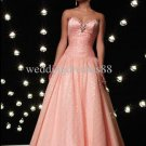 Strapless Prom Dress Beaded Prom Gown Ruffled Peach Party Dress With Petticoat P87