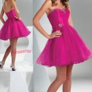 Strapless Tulle Hot Pink Beading Prom Mini Length Evening Dress Bridal Party Gown