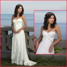 EMS for Russia customers White Chiffon Lace Beaded Empire Maternity Wedding Dress H001