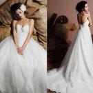 Halter Whte Oranza Ruffled Beaded Empire Maternity Wedding Dress