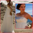 Strapless White Chiffon Embroidery Beaded Empire Maternity Wedding Dress