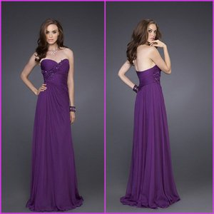 2012 Strapless Purple Chiffon Prom Dress with Hanmade Flowers Celebration Evening Dress