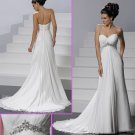 Strapless White Chiffon Empire Maternity Bridal Gown Ruffled Beaded Wedding Dress Mg054