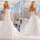 hot sale retro wedding dress, strapless A-line satin and organza wedding gown