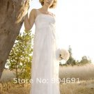 2 Straps Lace Chiffon Empire Maternity Bridal Dress Ruffled Applique Lace Beaded Wedding Dress Sarah