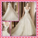 2012 New Ivory Tulle Lace Wedding Dress Cap Sleeves A-line Bridal Gown AGLAY PV292
