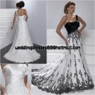 One Shouler Plated White Satin Lace Wedding Dress A-line Apllique Black White Lace Bridal Gown