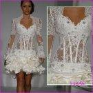 Strapless White Taffeta Lace Ruffled Short Wedding Dress Free Long Bole r/Shrug Mini Bridal Dress