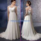 Halter Jeweled White Chiffon Beaded Maternity Wedding Dress Empire Waist Bridal Gown Cross Back