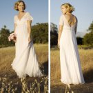 Short Sleeves White Ivory Chiffon Wedding Dress V-Neck Empire Waist Long Bridal Gown
