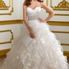 2012 Strapless White Organza Cascading Ruffles Beaded A-line Wedding Dress Bridal Dress1803