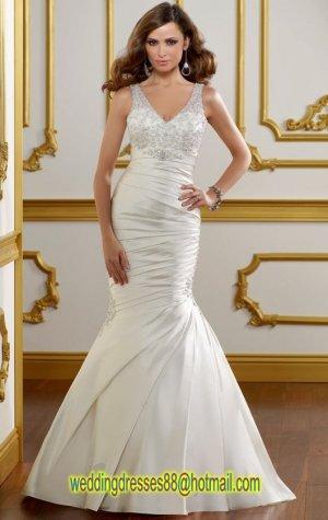 2012 Double Straps Ivory Satin Ruffled Applique Beaded Mermaid Wedding Dress Bridal Dress 1810