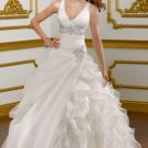 2012 Double Straps White Organza Cascading Ruffles Beaded A-line Wedding Dress Bridal Dress1817