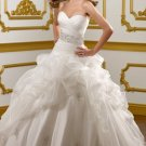 2012 Strapless White Organza Ruffled Applique Beaded A-line Wedding Dress Bridal Dress1823