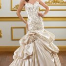 2012 Strapless White Satin Embroidery Beaded Flowers A-line Wedding Dress Bridal Dress1824