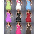 A-line One Shoulder Short Evening Dress Purple Blue Ruffle Chiffon Knee Length Bridesmaid Dress C139