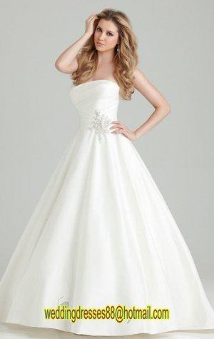 2012 Strapless White Satin Ruffled Beaded  A-line Wedding Dress Bridal Dress 2551
