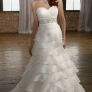 2012 Strapless White Organza Ruffled Beaded  A-line Wedding Dress Bridal Dress 4968