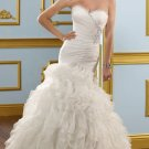 2012 Strapless White Organza Ruffled Sascading Ruffle Beaded Mermaid Wedding Dress Bridal Dress 4905