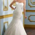 2012 Strapless White Tulle Ruffled Applique Beaded Mermaid Wedding Dress Bridal Dress 4907