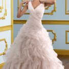 2012 Double Straps Pink Organza Ruffled Applique Beaded Wedding Dress Bridal Dress 4911