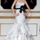 2012 Strapless White Organza Satin Black Belt Ruffled Mermaid Wedding Dress Bridal Dress 5598