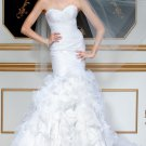 2012 Strapless White Organza Ruffled Mermaid Wedding Dress Bridal Dress 5811