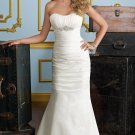 2012 Strapless White Taffeta Ruffled Beaded Mermaid Wedding Dress Bridal Dress 6722
