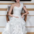 2012 One Shoulder White Organza Ruffled Petals Mermaid Wedding Dress Bridal Dress 6915
