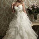 2012 Strapless White Organza Casading Ruffled Beaded A-line Wedding Dress Bridal Dress 8862