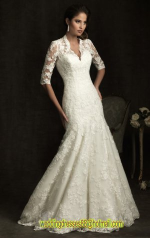 2012 Half Sleeves White Lace Applique Beaded Bridal Gown Wedding Dress 8900